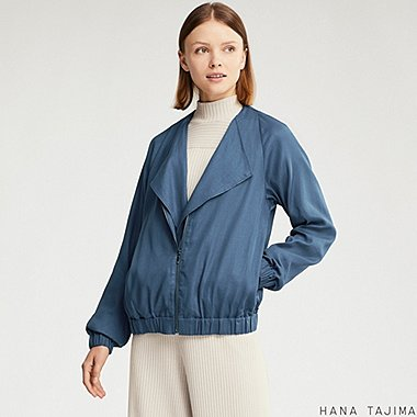 WOMEN LAYERED BLOUSON (HANA TAJIMA), BLUE, medium