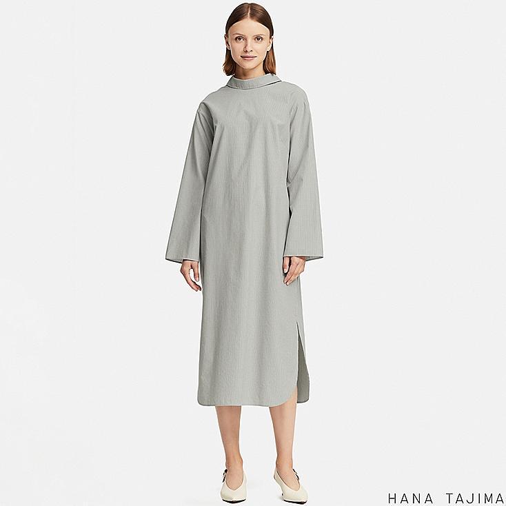 WOMEN MOCK NECK STRIPED LONG-SLEEVE DRESS (HANA TAJIMA), BLUE, large