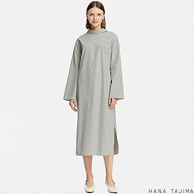 WOMEN MOCK NECK STRIPED LONG-SLEEVE DRESS (HANA TAJIMA), BLUE, medium