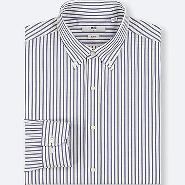 MEN EASY CARE STRIPED STRETCH SLIM-FIT LONG-SLEEVE SHIRT, BLUE, medium