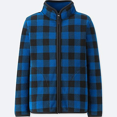 KIDS FLEECE CHECKED LONG SLEEVED JACKET