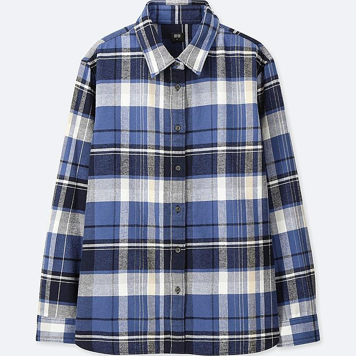 WOMEN FLANNEL CHECKED LONG-SLEEVE SHIRT at UNIQLO in Brooklyn, NY | Tuggl
