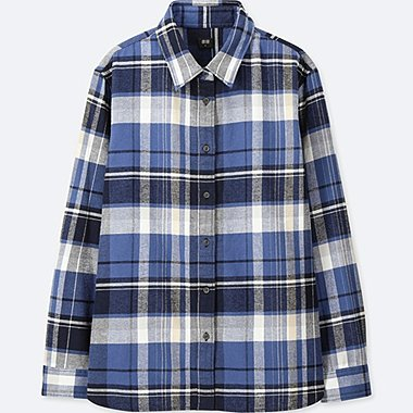 WOMEN FLANNEL CHECKED LONG-SLEEVE SHIRT, BLUE, medium