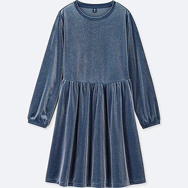 GIRLS VELOUR LONG-SLEEVE DRESS, BLUE, medium