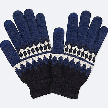 KIDS HEATTECH KNITTED GLOVES, BLUE, medium