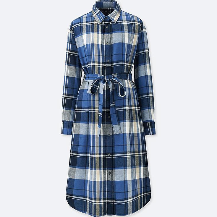 WOMEN FLANNEL LONG-SLEEVE SHIRT DRESS, BLUE, large