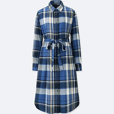 WOMEN FLANNEL LONG-SLEEVE SHIRT DRESS, BLUE, medium