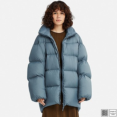 WOMEN U OVERSIZED DOWN JACKET, BLUE, medium