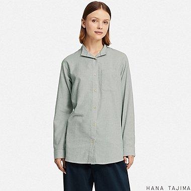 WOMEN FLANNEL OVERSIZE STRIPED LONG-SLEEVE SHIRT (HANA TAJIMA), BLUE, medium