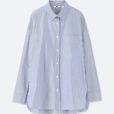WOMEN EXTRA FINE COTTON STRIPED LONG-SLEEVE SHIRT, BLUE, medium