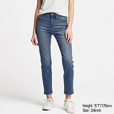 WOMEN COMPRESSION HIGH-RISE SKINNY ANKLE JEANS, BLUE, medium