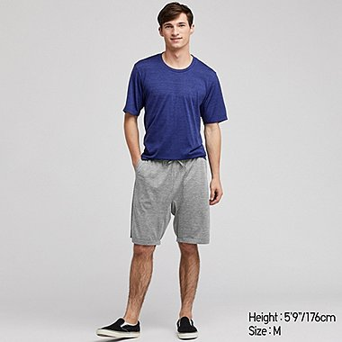 MEN AIRism SHORT-SLEEVE LOUNGE SET, BLUE, medium