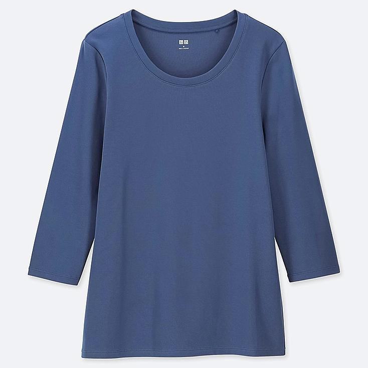 WOMEN 1*1 RIBBED COTTON CREW NECK 3/4 SLEEVE T-SHIRT, BLUE, large