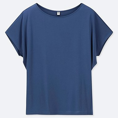 WOMEN DRAPE CREW NECK SHORT-SLEEVE T-SHIRT, BLUE, medium