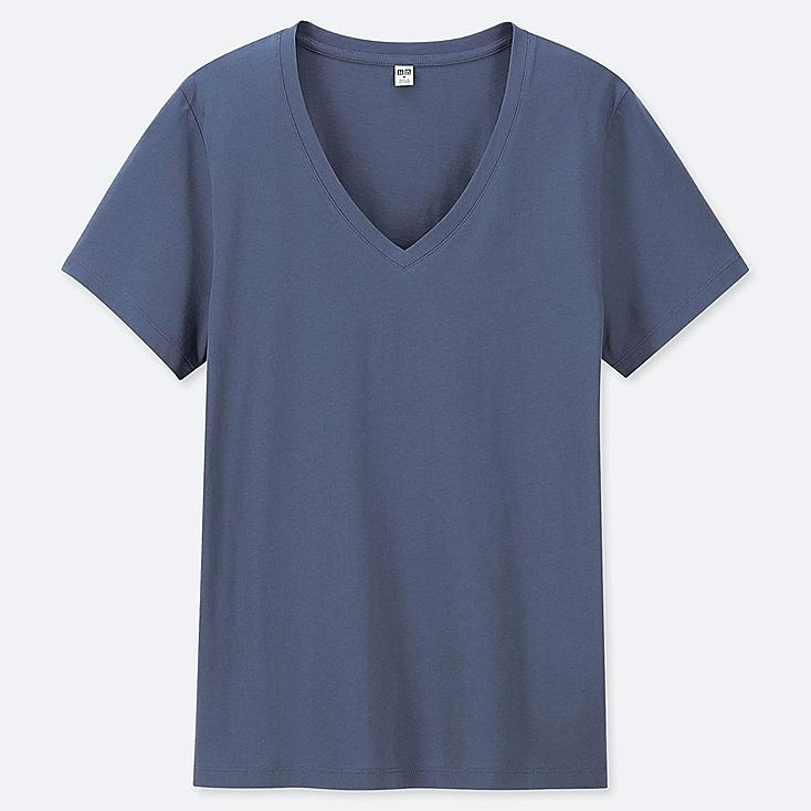WOMEN SUPIMA® COTTON V-NECK SHORT-SLEEVE T-SHIRT, BLUE, large