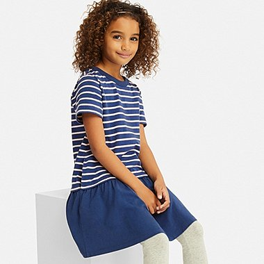 GIRLS STRIPED SHORT-SLEEVE DRESS, BLUE, medium
