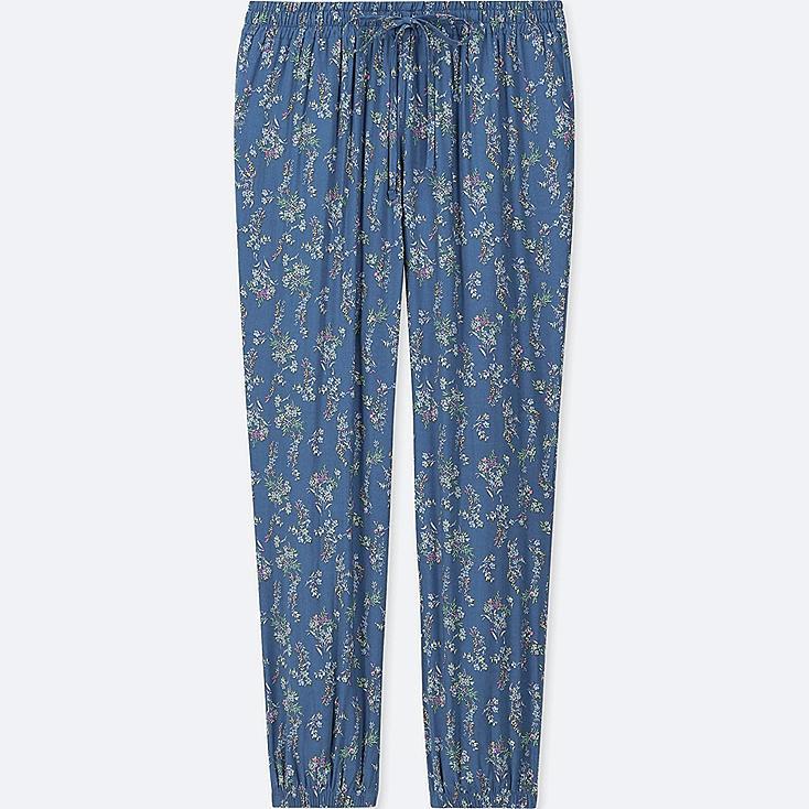 WOMEN DRAPE JOGGER FLORAL PANTS, BLUE, large