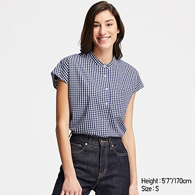 WOMEN EXTRA FINE COTTON SHORT-SLEEVE SHIRT (ONLINE EXCLUSIVE), BLUE, medium