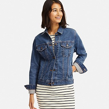 WOMEN DENIM JACKET, BLUE, medium