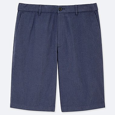 MEN LINEN BLEND SHORTS, BLUE, medium