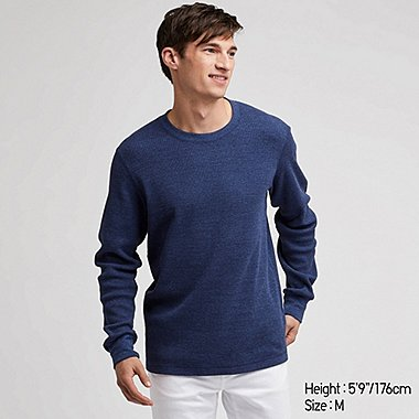 MEN WAFFLE KNIT CREW NECK LONG SLEEVED T-SHIRT