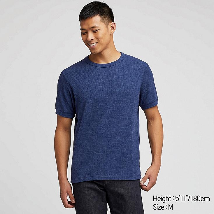 MEN WAFFLE CREW NECK SHORT-SLEEVE T-SHIRT, BLUE, large