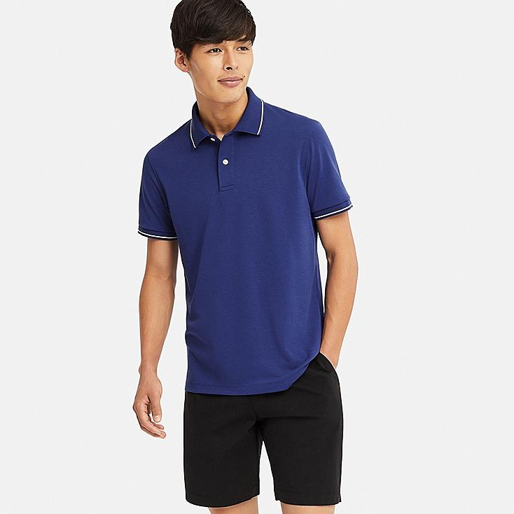 MEN DRY-EX PIQUE SHORT-SLEEVE POLO SHIRT, BLUE, large