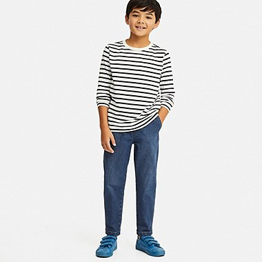 BOYS ULTRA STRETCH DENIM TAPERED ANKLE PANTS, BLUE, medium