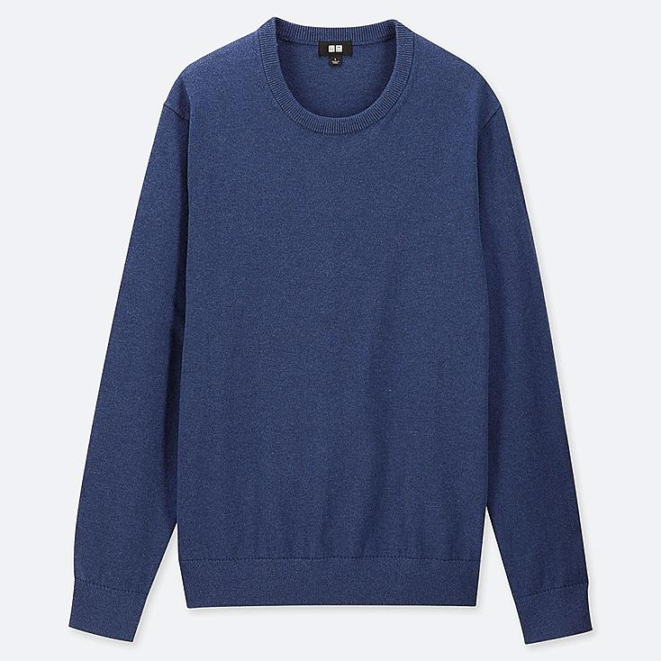 MEN SUPIMA® COTTON CREW NECK LONG-SLEEVE SWEATER, BLUE, large