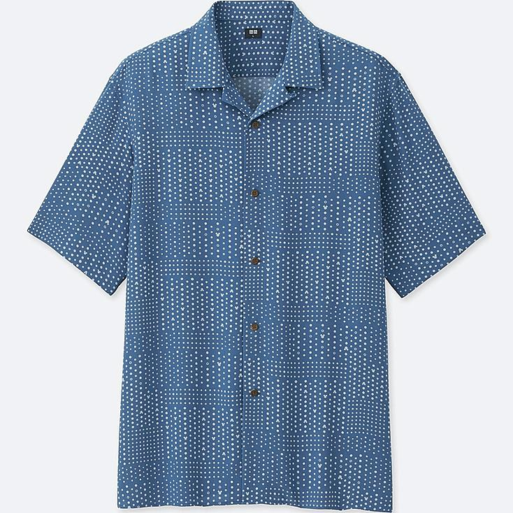 Men Mickey Blue Open Collar Short Sleeve Shirt by Uniqlo