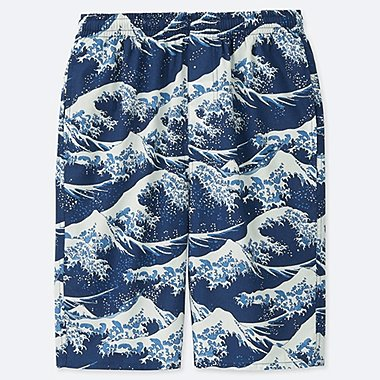 MEN HOKUSAI BLUE LIGHT COTTON EASY SHORTS