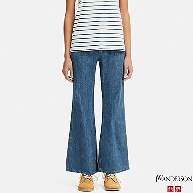 WOMEN BELL BOTTOMS JEANS (JW Anderson), BLUE, medium