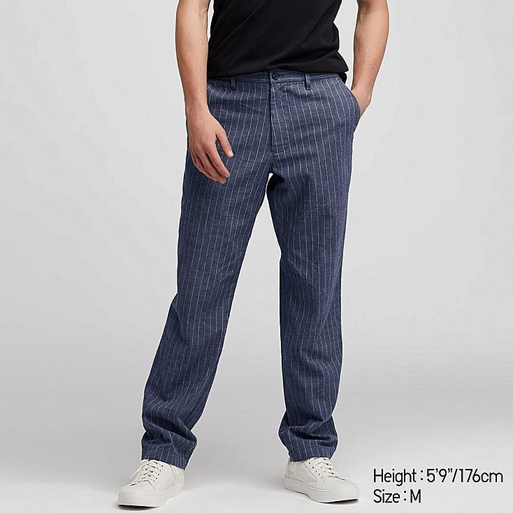 MEN COTTON LINEN STRIPED RELAXED PANTS, BLUE, large