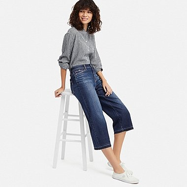 women high-rise wide cropped jeans