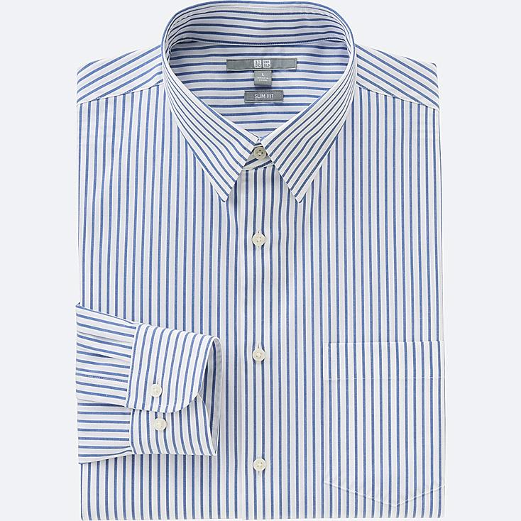 MEN EASY CARE STRETCH SLIM FIT STRIPED LONG SLEEVE SHIRT, BLUE, large