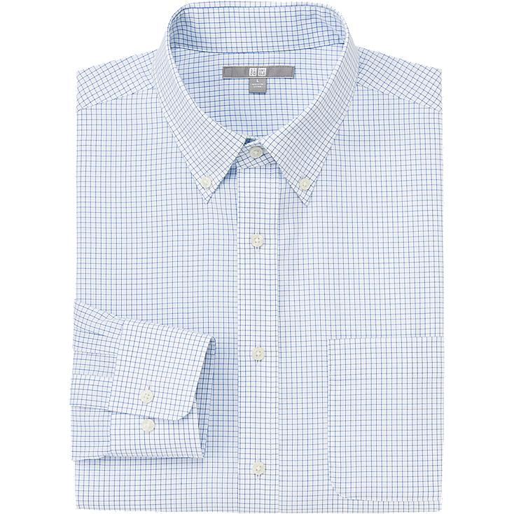 MEN EASY CARE CHECK PRINT LONG SLEEVE SHIRT, BLUE, large