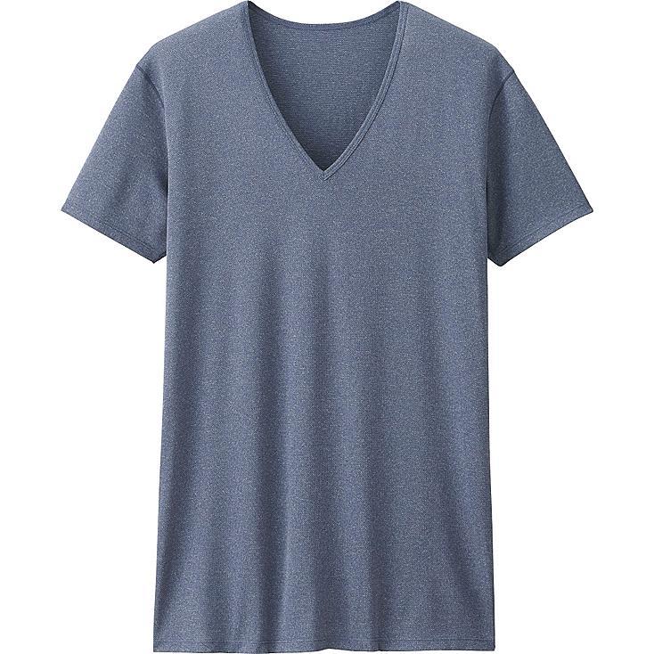 Men's AIRism Mesh V-Neck T-Shirt, BLUE, large