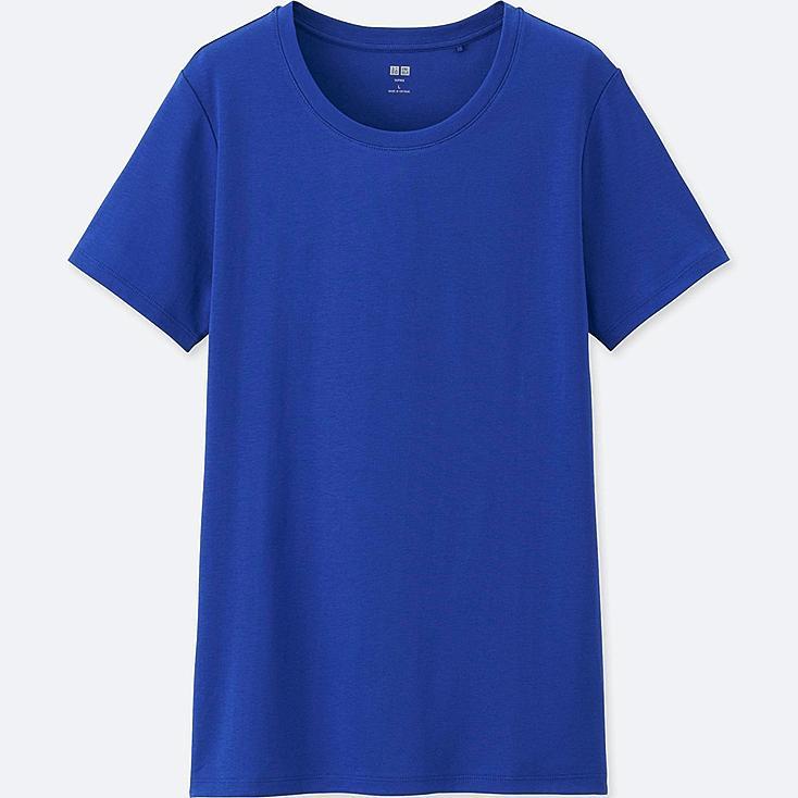 Women Supima® Cotton Crew Neck T-Shirt, BLUE, large