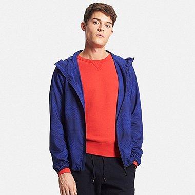 Mens Packable Hooded Jacket, BLUE, medium