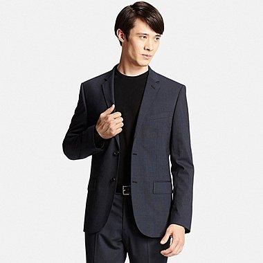 Mens Stretch Wool Slim-Fit Jacket, BLUE, medium