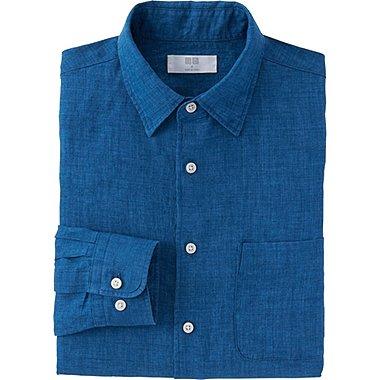 Men Premium Linen Long Sleeve Shirt, BLUE, medium