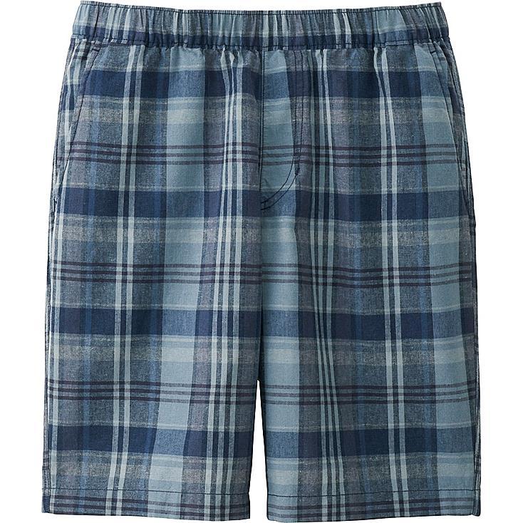 Men Linen Cotton Elastic Waist Shorts, BLUE, large