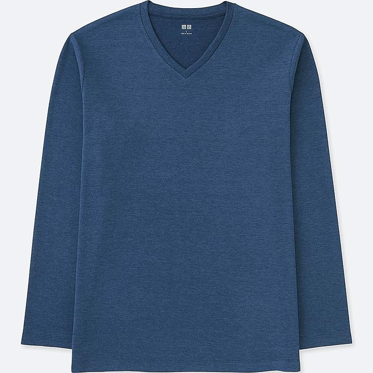 MEN SOFT TOUCH V-NECK LONG SLEEVE T-SHIRT, BLUE, large
