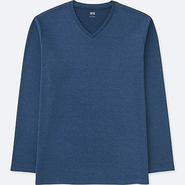 MEN SOFT TOUCH V-NECK LONG SLEEVE T-SHIRT, BLUE, medium