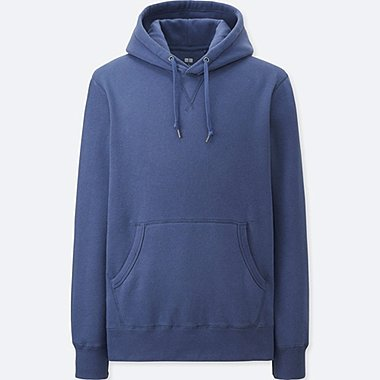 MEN SWEAT LONG SLEEVE PULLOVER HOODIE, BLUE, medium