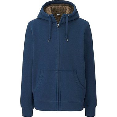 MEN PILE-LINED SWEAT LONG SLEEVE FULL-ZIP HOODIE, BLUE, medium