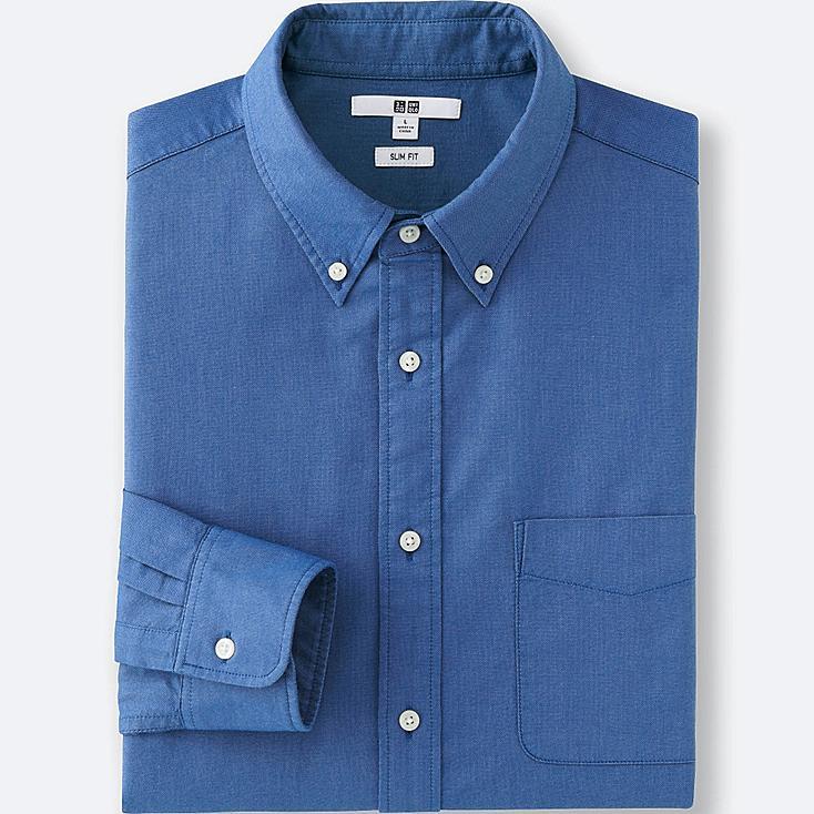 MEN OXFORD SLIM FIT LONG SLEEVE SHIRT, BLUE, large