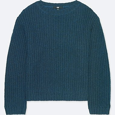 WOMEN MOHAIR BLEND OVERSIZED SWEATER, BLUE, medium