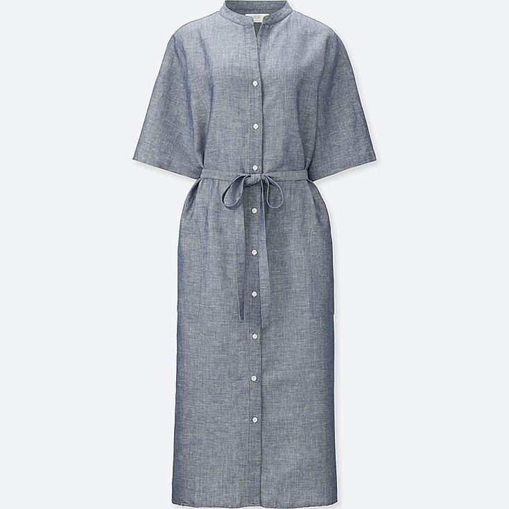 WOMEN LINEN COTTON SHORT SLEEVE SHIRT DRESS, BLUE, large