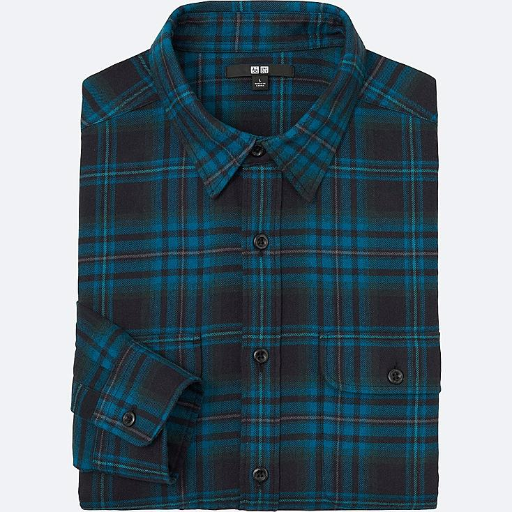 MEN FLANNEL CHECK LONG SLEEVE SHIRT, BLUE, large